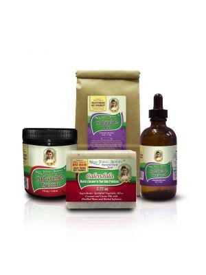 1-Calendula Tea 4oz, 1-Calendula Tincture 4oz, 1-Calendula Cream, and 1-Calendula Soap