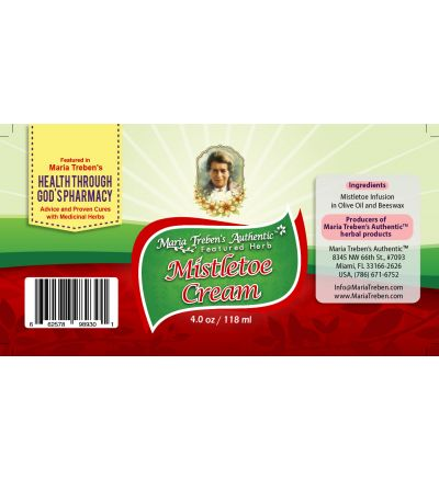 Mistletoe (Viscum album) 4oz/118ml Herbal Cream - Maria Treben's Authentic™ Featured Herb