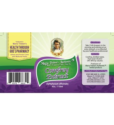 Comfrey (Symphytum officinale) 4oz/118ml Herbal Extract / Tincture - Maria Treben's Authentic™ Featured Herb