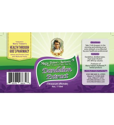Dandelion (Taraxacum officinale) 4oz/118ml Herbal Extract / Tincture - Maria Treben's Authentic™ Featured Herb