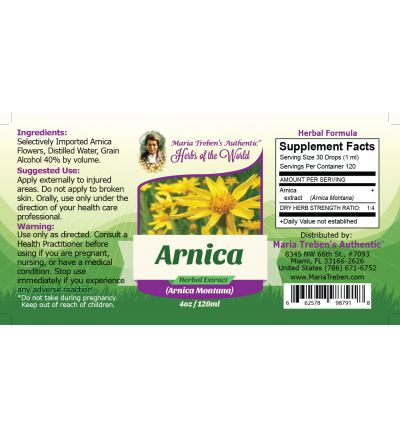 Arnica Flower (Arnica Montana) 4oz/118ml Herbal Extract / Tincture - Maria Treben's Authentic™ Herbs of the World