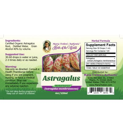 Astragalus Root (Astragalus membranaceus) 4oz/118ml Herbal Extract / Tincture - Maria Treben's Authentic™ Herbs of the World