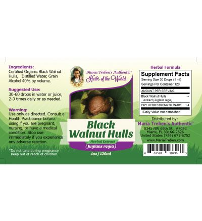 Black Walnut (Juglans nigra) 4oz/118ml Herbal Extract / Tincture - Maria Treben's Authentic™ Herbs of the World