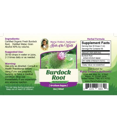 Burdock Root (Cimicifuga racemosa) 2oz/59ml Herbal Extract / Tincture - Maria Treben's Authentic™ Herbs of the World