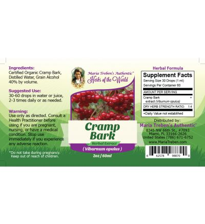 Cramp Bark(Viburnum opulus) 2oz/59ml Herbal Extract / Tincture  - Maria Treben's Authentic™ Herbs of the World