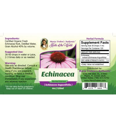 Echinacea (Echinacea Angustifolia L.) 4oz/118ml Herbal Extract / Tincture - Maria Treben's Authentic™ Herbs of the World