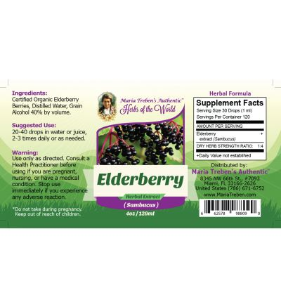 Elderberry (Sambucus nigra) 4oz/118ml Herbal Extract / Tincture - Maria Treben's Authentic™ Herbs of the World