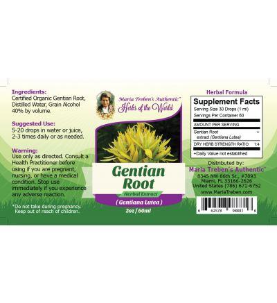 Gentian Root (Gentiana Lutea) 2oz/59ml Herbal Extract / Tincture - Maria Treben's Authentic™ Herbs of the World