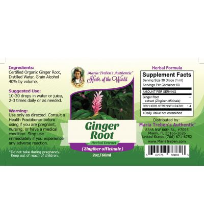 Ginger Root (Zingiber officinale) 2oz/59ml Herbal Extract / Tincture - Maria Treben's Authentic™ Herbs of the World