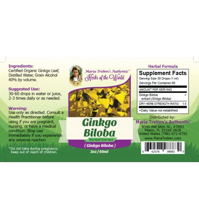 Ginkgo Leaf (Ginkgo Biloba) 2oz/59ml Herbal Extract / Tincture - Maria Treben's Authentic™ Herbs of the World