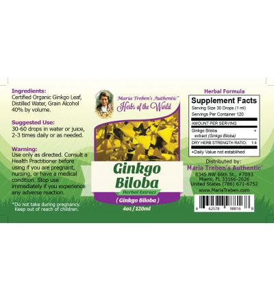 Ginkgo Leaf (Ginkgo Biloba) 4oz/118ml Herbal Extract / Tincture - Maria Treben's Authentic™ Herbs of the World