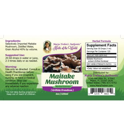 Maitake Mushroom (Grifola frondosa) 4oz/118ml Herbal Extract / Tincture  - Maria Treben's Authentic™ Herbs of the World