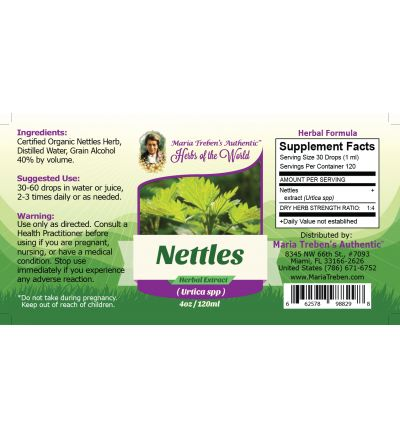 Nettles Leaf (Urtica Dioica) 4oz/118ml Herbal Extract / Tincture - Maria Treben's Authentic™ Herbs of the World