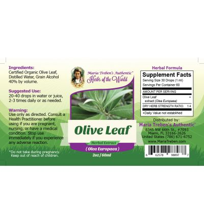 Olive Leaf (Olea Europaea) 2oz/59ml Herbal Extract / Tincture - Maria Treben's Authentic™ Herbs of the World