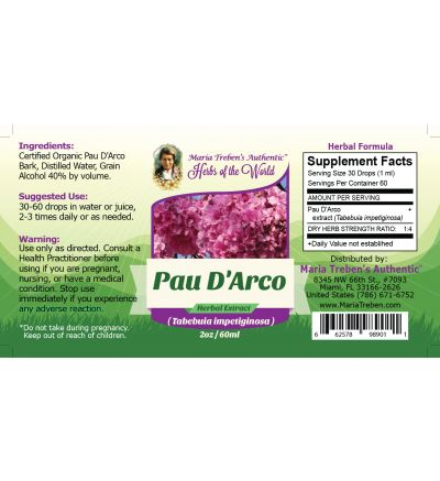 Pau D'Arco (Tabebuia impetiginosa) 2oz/59ml Herbal Extract / Tincture - Maria Treben's Authentic™ Herbs of the World