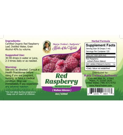 Red Raspberry (Rubus Idaeus) 4oz/118ml Herbal Extract / Tincture - Maria Treben's Authentic™ Herbs of the World