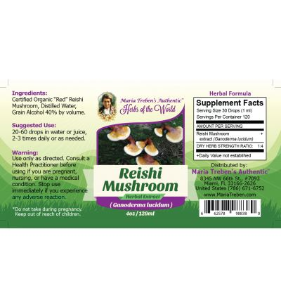 Reishi Mushroom (Ganoderma lucidum) 4oz/118ml Herbal Extract / Tincture - Maria Treben's Authentic™ Herbs of the World