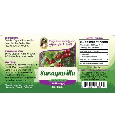 Sarsaparilla Root (Smilax Specie) 4oz/118ml Herbal Extract / Tincture - Maria Treben's Authentic™ Herbs of the World