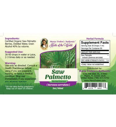 Saw Palmetto (Sarenoa Serrulata) 2oz/59ml Herbal Extract / Tincture - Maria Treben's Authentic™ Herbs of the World