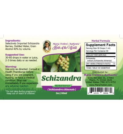 Schizandra Berry (Schizandra Chinensis) 2oz/59ml Herbal Extract / Tincture - Maria Treben's Authentic™ Herbs of the World