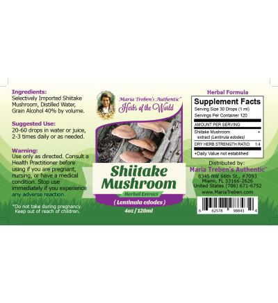Shiitake Mushroom (Lentinus edodes) 4oz/118ml Herbal Extract / Tincture - Maria Treben's Authentic™ Herbs of the World