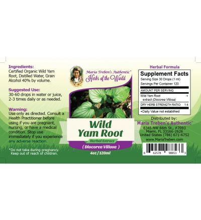 Wild Yam Root (Dioscorea Villosa) 4oz/118ml Herbal Extract / Tincture - Maria Treben's Authentic™ Herbs of the World