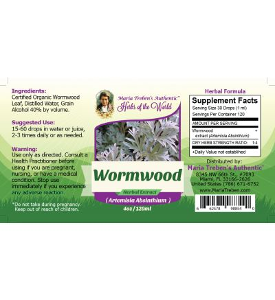 Wormwood Leaf (Artemisia Absinthium) 4oz/118ml Herbal Extract / Tincture - Maria Treben's Authentic™ Herbs of the World