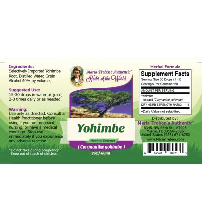 Yohimbe (Pausinystalia yohimbe) 2oz/59ml Herbal Extract / Tincture - Maria Treben's Authentic™ Herbs of the World