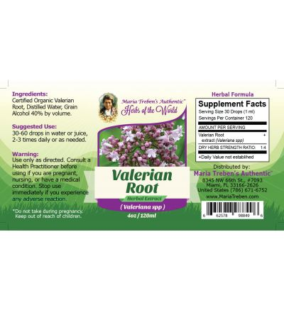 Valerian Root (Valeriana Officinalis) 4oz/118ml Herbal Extract / Tincture - Maria Treben's Authentic™ Herbs of the World