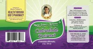Calendula/Marigold (Calendula off icinalis) 2oz/59ml Herbal Extract / Tincture - Maria Treben's Authentic™ Featured Herb