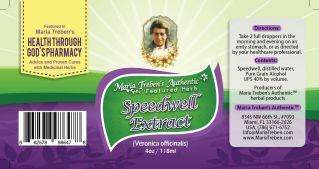 Speedwell (Veronica officinalis) 4oz/118ml Herbal Extract / Tincture - Maria Treben's Authentic™ Featured Herb