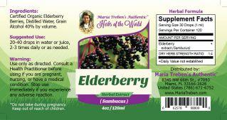 Elderberry (Sambucus nigra) 4oz/118ml Herbal Extract / Tincture - Maria Treben's Authentic™ Herbs of the World