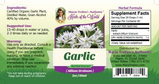 Garlic Bulb (Allium sativum) 2oz/59ml Herbal Extract / Tincture - Maria Treben's Authentic™ Herbs of the World