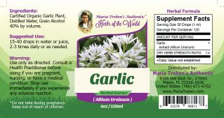 Garlic Bulb (Allium sativum) 4oz/118ml Herbal Extract / Tincture - Maria Treben's Authentic™ Herbs of the World