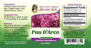 Pau D'Arco (Tabebuia impetiginosa) 4oz/118ml Herbal Extract / Tincture - Maria Treben's Authentic™ Herbs of the World