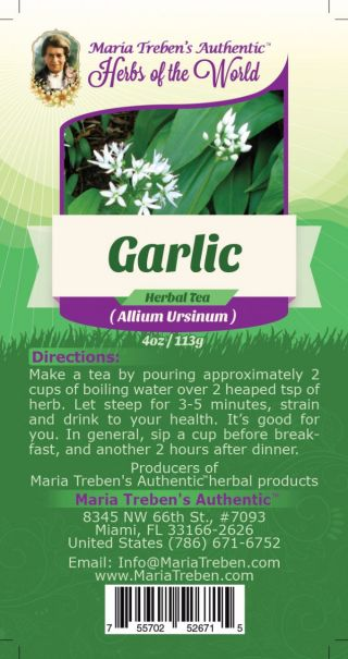 Garlic Bulb (Allium sativum) 4oz/113g Herbal Tea - Maria Treben's Authentic™ Herbs of the World