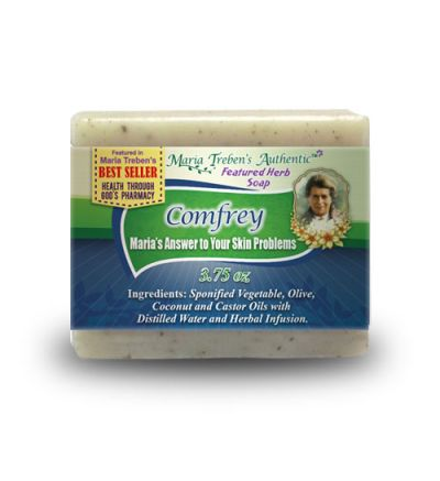 Comfrey (Symphytum officinale) 3.75oz Bar Handcrafted Herbal Soap - Maria Treben's Authentic™ Featured Herb