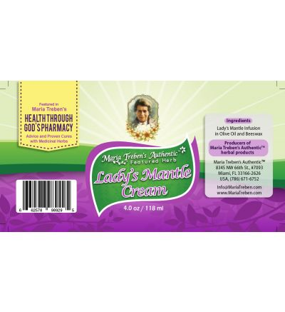 Lady's Mantle (Alchemilla vulgaris) 4oz/118ml Herbal Cream - Maria Treben's Authentic™ Featured Herb