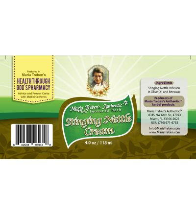 Stinging Nettle (Urtica dioica) 4oz/118ml Herbal Cream - Maria Treben's Authentic™ Featured Herb