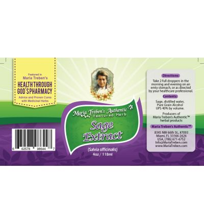 Sage (Salvia officinalis) 4oz/118ml Herbal Extract / Tincture - Maria Treben's Authentic™ Featured Herb