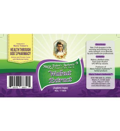 Walnut (Juglans regia) 4oz/118ml Herbal Extract / Tincture - Maria Treben's Authentic™ Featured Herb