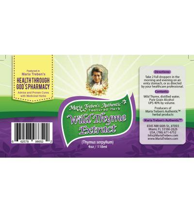 Wild Thyme (Thymus serpyllum) 4oz/118ml Herbal Extract / Tincture - Maria Treben's Authentic™ Featured Herb
