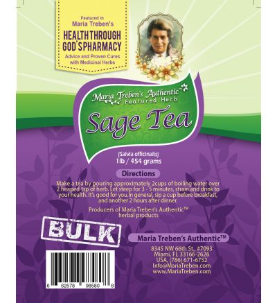 Sage (Salvia officinalis) 1lb/454g BULK Herbal Tea - Maria Treben's Authentic™ Featured Herb