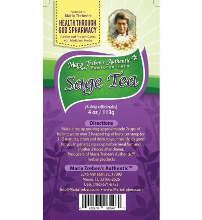 Sage (Salvia officinalis) 4oz/113g Herbal Tea - Maria Treben's Authentic™ Featured Herb