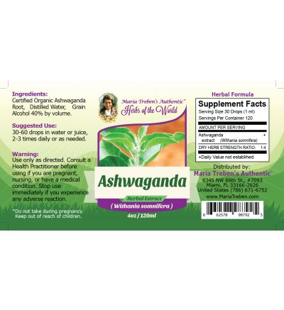 Ashwaganda Root (Withania somnifera) 4oz/118ml Herbal Extract / Tincture - Maria Treben's Authentic™ Herbs of the World