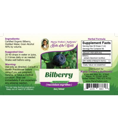 Bilberry (Vaccinium myrtillus) 2oz/59ml Herbal Extract / Tincture - Maria Treben's Authentic™ Herbs of the World
