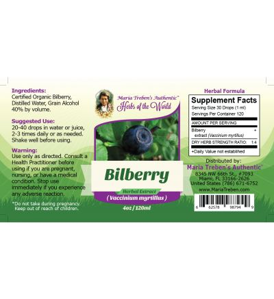 Bilberry (Vaccinium myrtillus) 4oz/118ml Herbal Extract / Tincture - Maria Treben's Authentic™ Herbs of the World