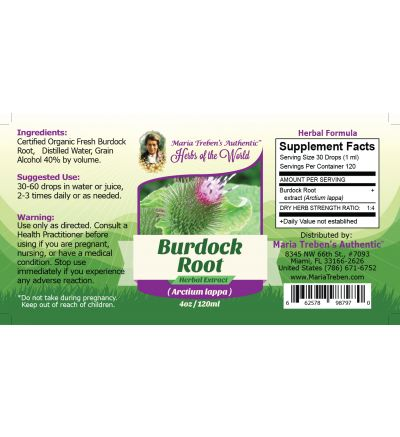 Burdock Root (Cimicifuga racemosa) 4oz/118ml Herbal Extract / Tincture - Maria Treben's Authentic™ Herbs of the World