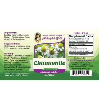 Chamomile Flower (Anthemis nobilis) 4oz/118ml Herbal Extract / Tincture - Maria Treben's Authentic™ Herbs of the World