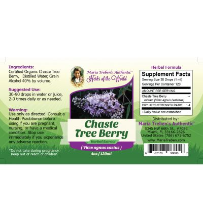 Chaste Tree Berry (Vitex agnus castus) 4oz/118ml Herbal Extract / Tincture  - Maria Treben's Authentic™ Herbs of the World